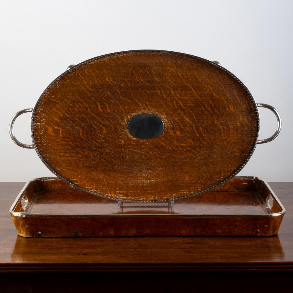 Two English Silver Plate-Mounted Wood Trays
