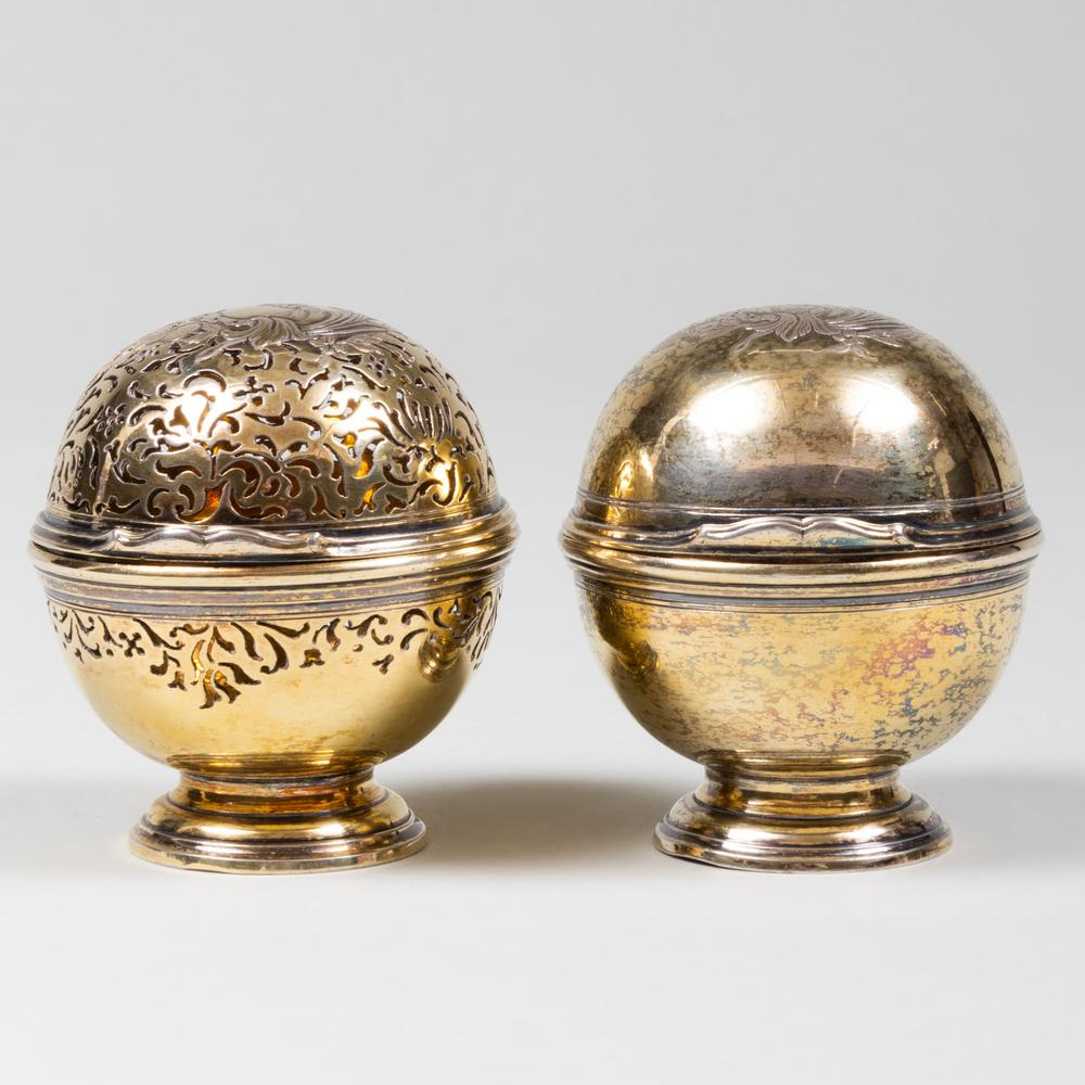 Two Continental Silver-Gilt Pomanders