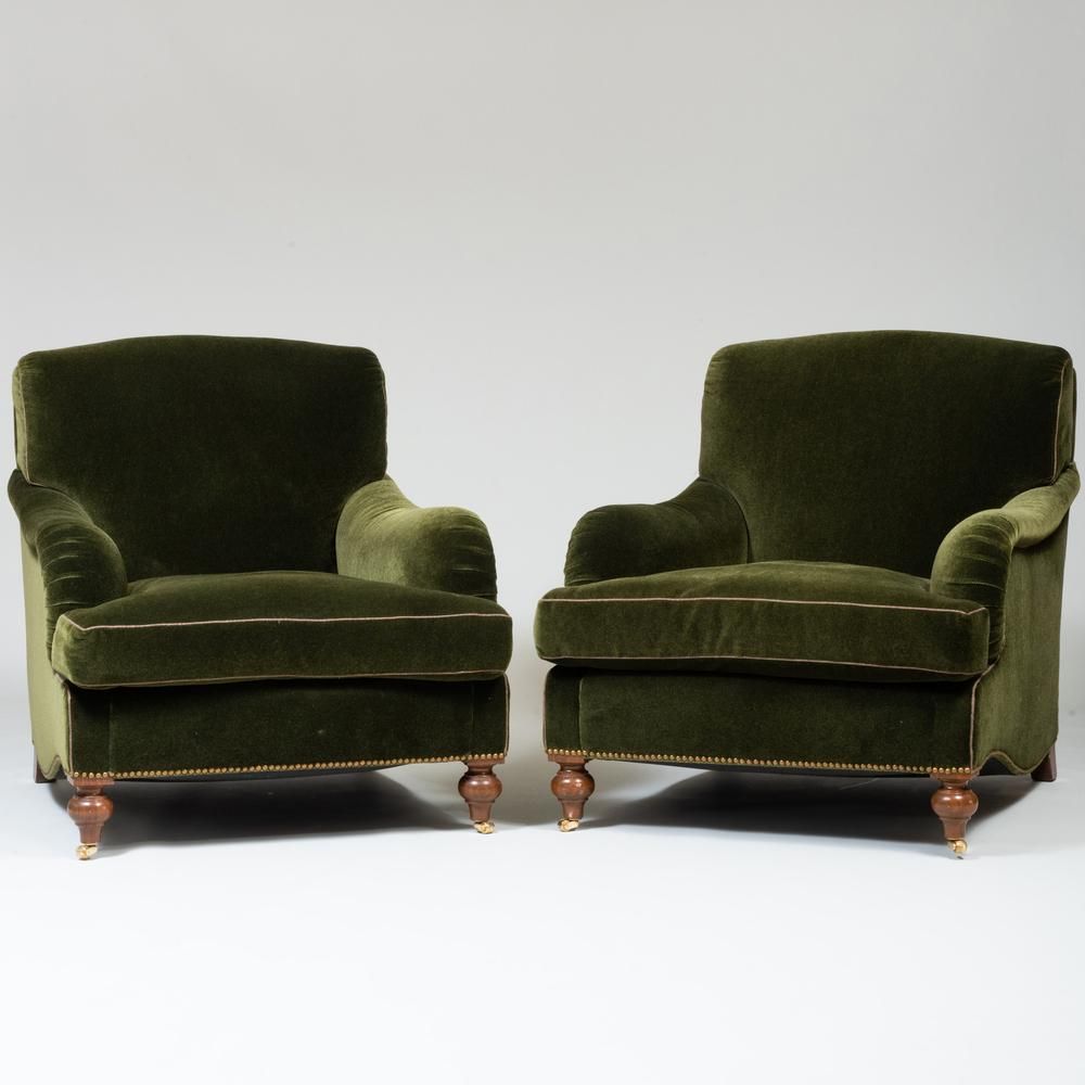 Pair of Green Mohair Upholstered Club Chairs, A. Schneller & Sons