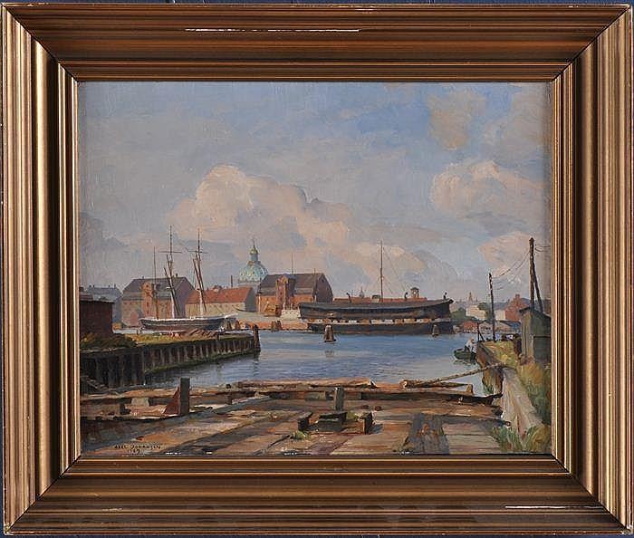 AXEL JOHANSEN (1872-1938): HARBOR SCENE