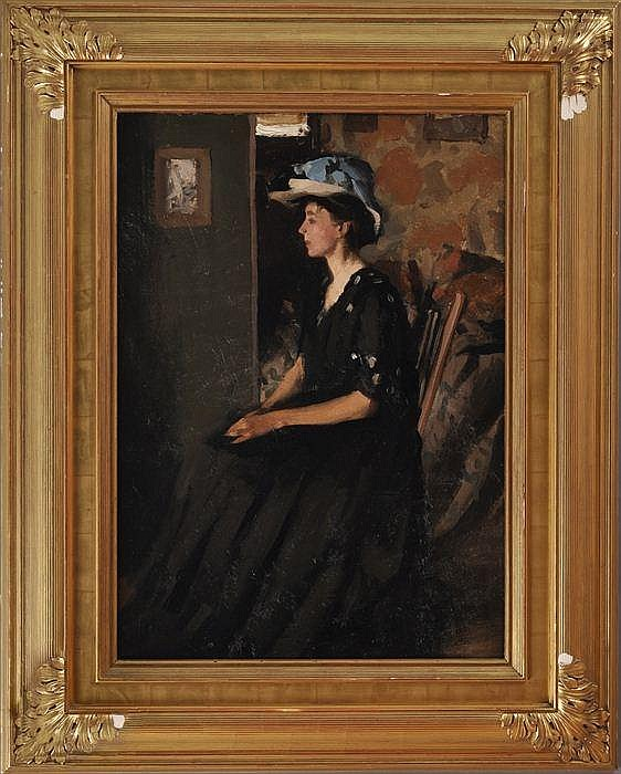 CAROLINE STEHLIN (1879-1954): THE BLUE RIBBONED HAT