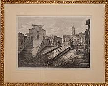 After Luigi Rossini (1790-1857): Two Views of Rome
