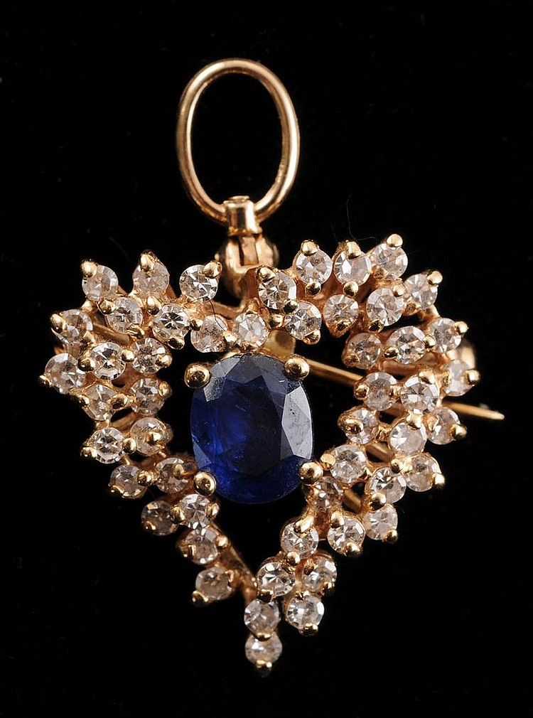 SAPPHIRE AND SIMULATED DIAMOND PIN/PENDANT AND PAIR OF EARRINGS