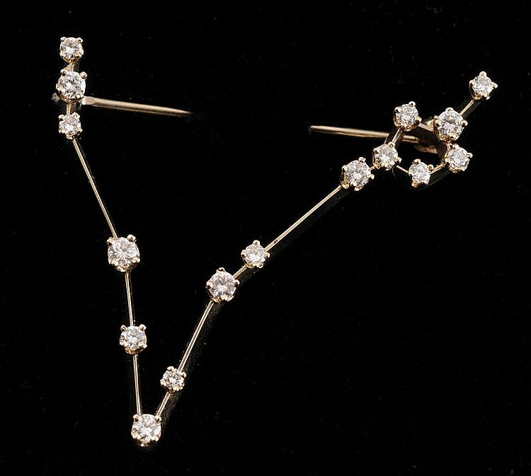 14K WHITE GOLD AND DIAMOND CONSTELLATION PIN