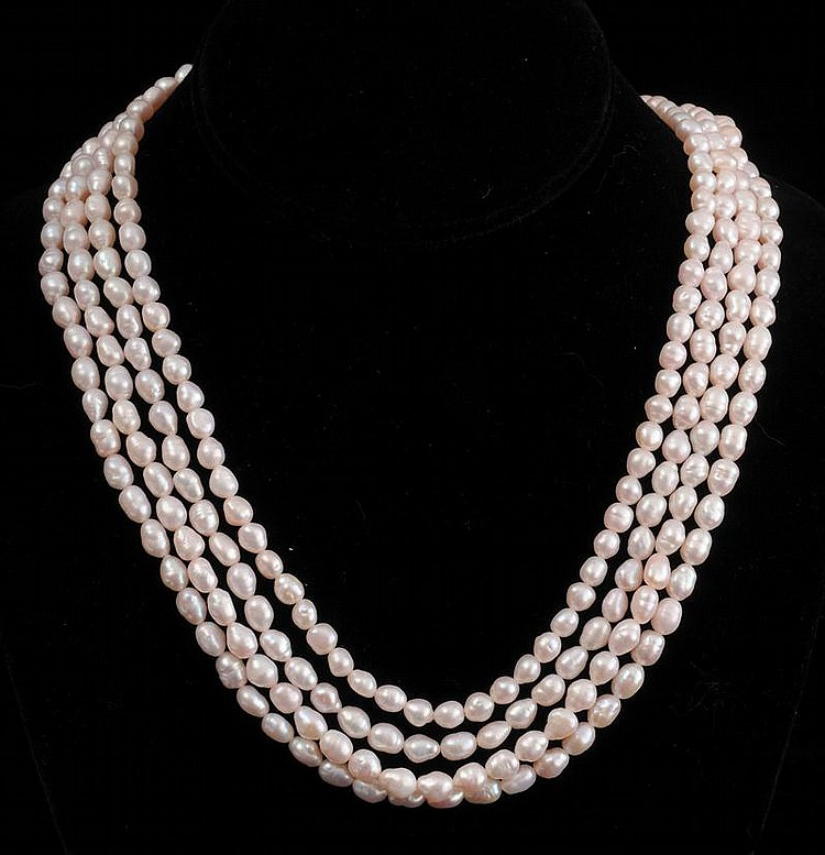 FOUR-STRAND SEA PEARL NECKLACE WITH 14K GOLD CLASP