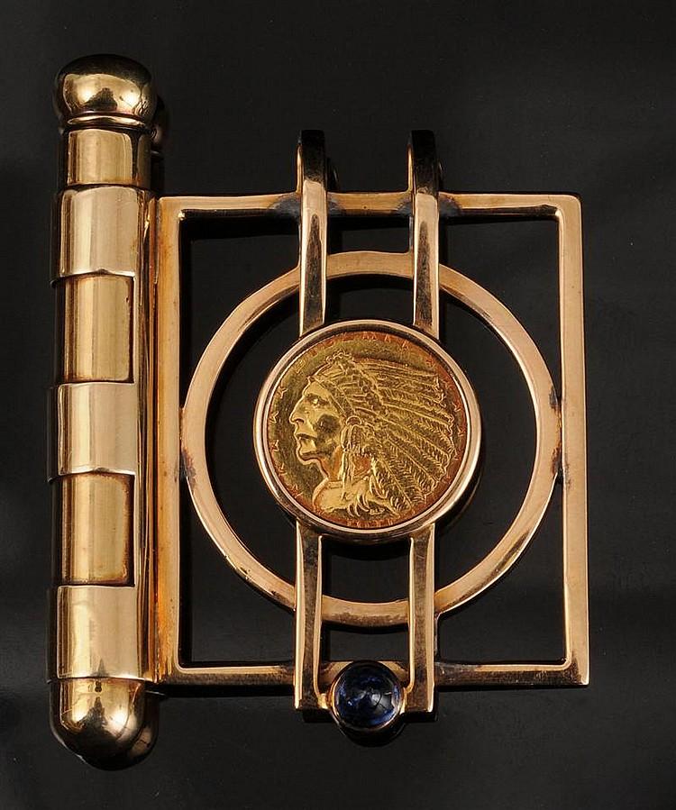 RAVE GENTLEMAN'S 18K GOLD AND SAPPHIRE MONEY CLIP