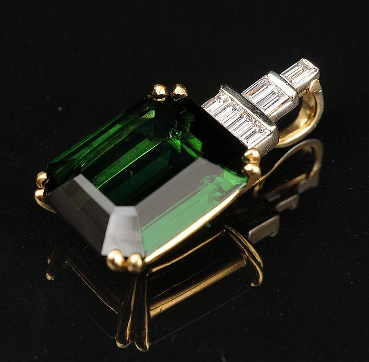 18K GOLD, TOURMALINE AND DIAMOND PENDANT