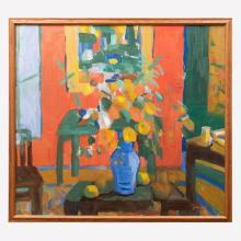 Jen Pang (Zhen Pong) (b. 1928): Interior With Flowers
