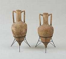 TWO CYPRIOT TAN CLAY AMPHORA