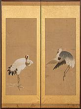 PAIR OF JAPANESE PAINTED-PAPER TWO-FOLD SCREENS WITH CRANES
