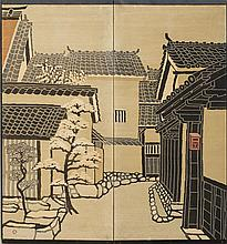 TWO JAPANESE SILK TWO PANEL SCREENS