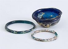 GROUP OF THREE ANCIENT GLASS OBJECTS