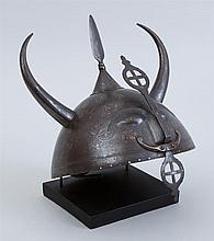 INDO-PERSIAN STYLE DAMASCENED STEEL HELMET, KULAH-KHUD