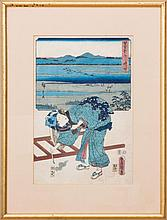JAPANESE SCHOOL: WOMAN WITH CALLIGRAPHY BRUSH
