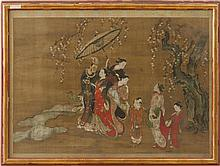 UKIYO-E SCHOOL: A CHINESE NOBLEMAN AND JAPANESE COURTESANS VIEWING A CHERRY BLOSSOM