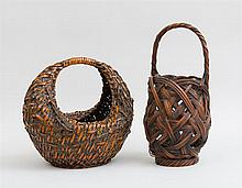 TWO JAPANESE RED STAINED BASKETS