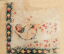 COPTIC TEXTILE WALL HANGING WITH A CHILD-LIKE FLYING DANCER
