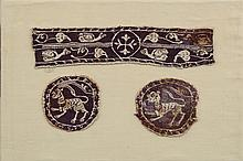 COPTIC TEXTILE PURPLE SLEEVE BAND WITH CROSS AND GALLINULES, RONDELS WITH FELINES