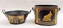 Two Black-Ground Tôle Peinte Buckets with Classical Paper Decoupage