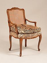 Louis XV Style Stained Beechwood and Caned Fauteuil a la Reine