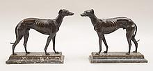 Pair of Bronze Patinated Metal Figures of Russian Wolf Hounds