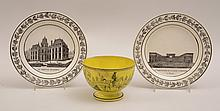 Pair of French Faience Transfer-Printed Topographical Plates and a Yellow-Ground Footed Bowl