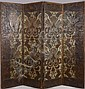 Continental Painted Leather Four-Panel Folding Screen