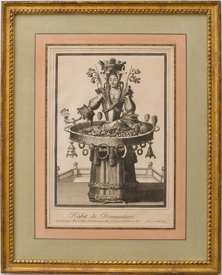 NICOLAS LARMESSIN II (c. 1638-1694): HABIT DE JARDINIER; AND HABIT DE BOUQUETIERE, FROM HABIT DES MÉTIERS ET PROFESSIONS