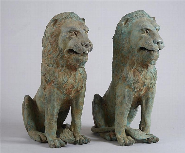 Pair of Cast-Metal Lions, 20th C.
