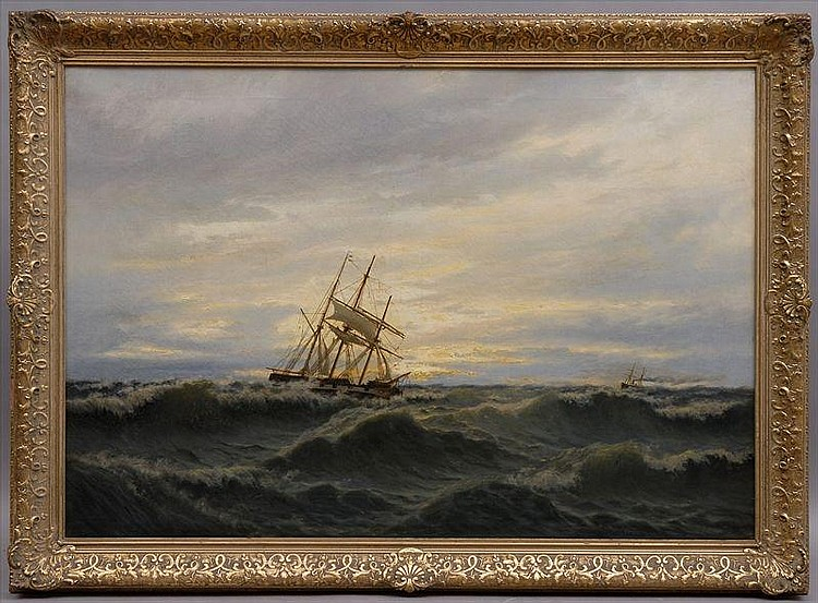 OSCAR KLEINEH (1846-1919): SHIP IN STORMY SEAS