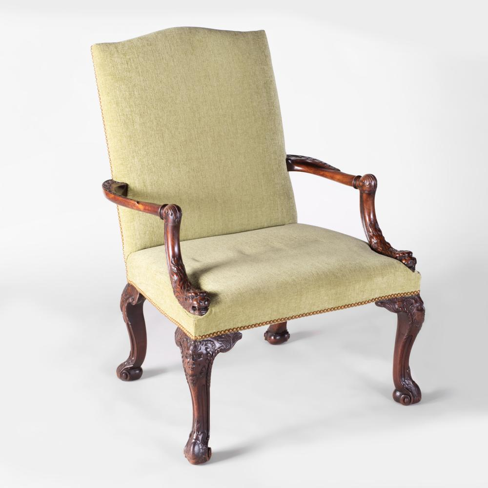 George III Style Carved Mahogany Library Chair