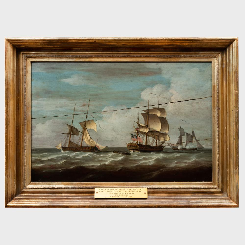Attributed to Dominic Serres (1719-1793): HMS Artois Capturing Two Dutch Privateers