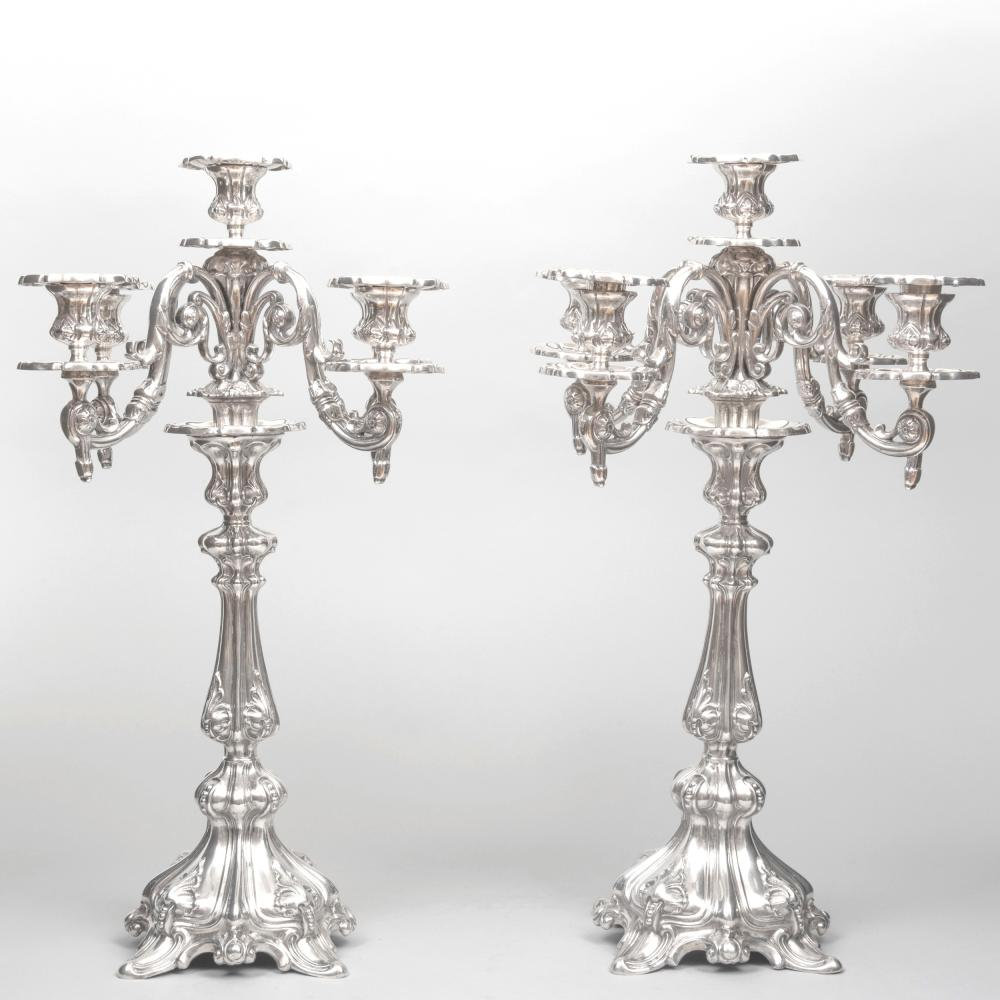 Pair of Egyptian Silver Five-Light Candelabra