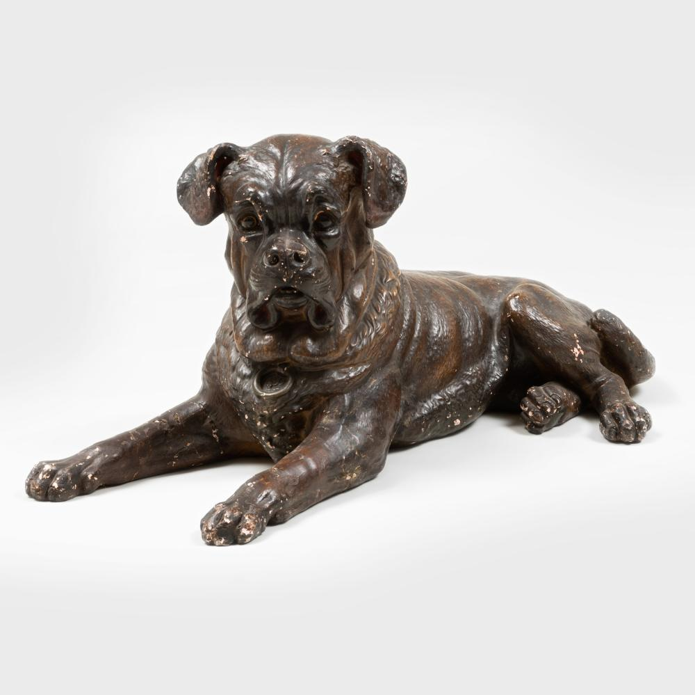 Painted Composition Model of a Recumbent Hound
