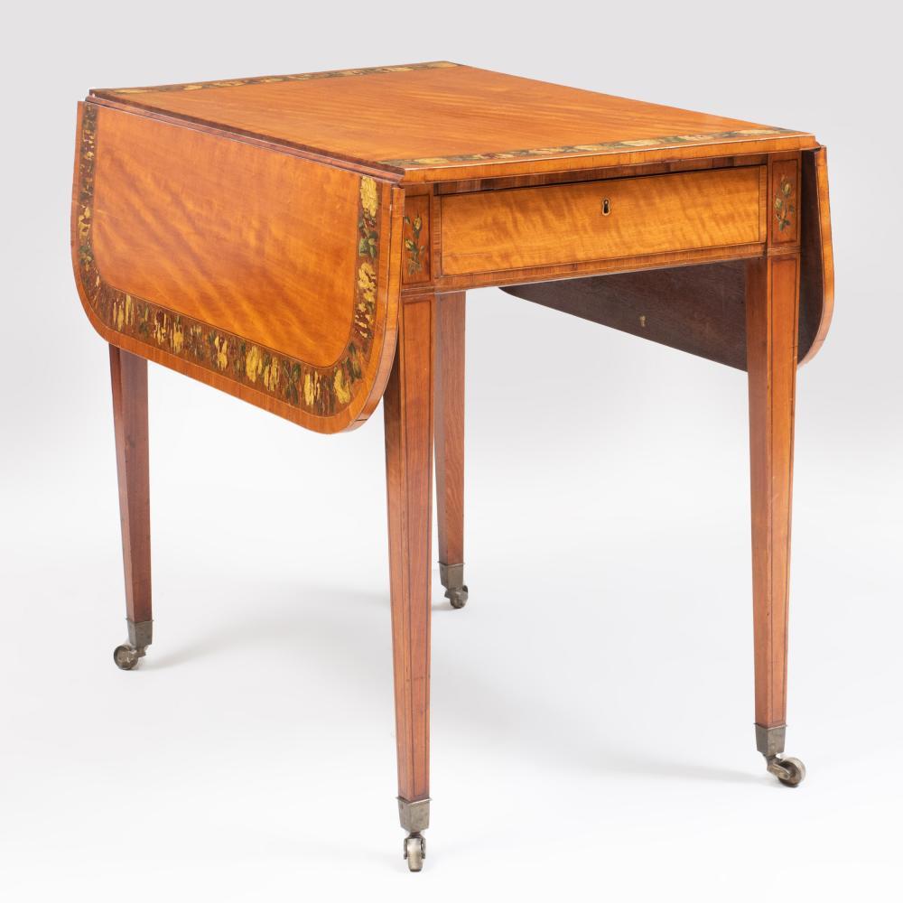 George III Polychrome Decorated Satinwood Pembroke Table