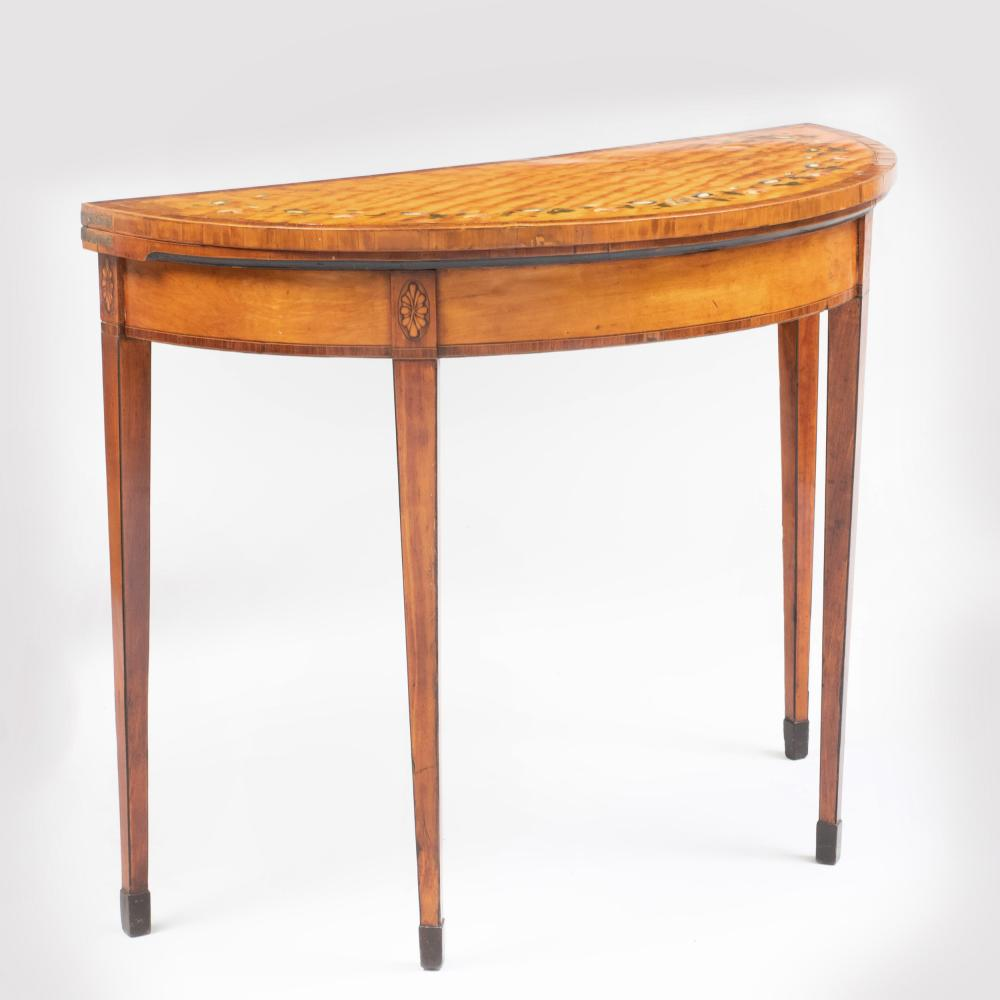 George III Polychrome Painted Satinwood D-Shaped Card Table