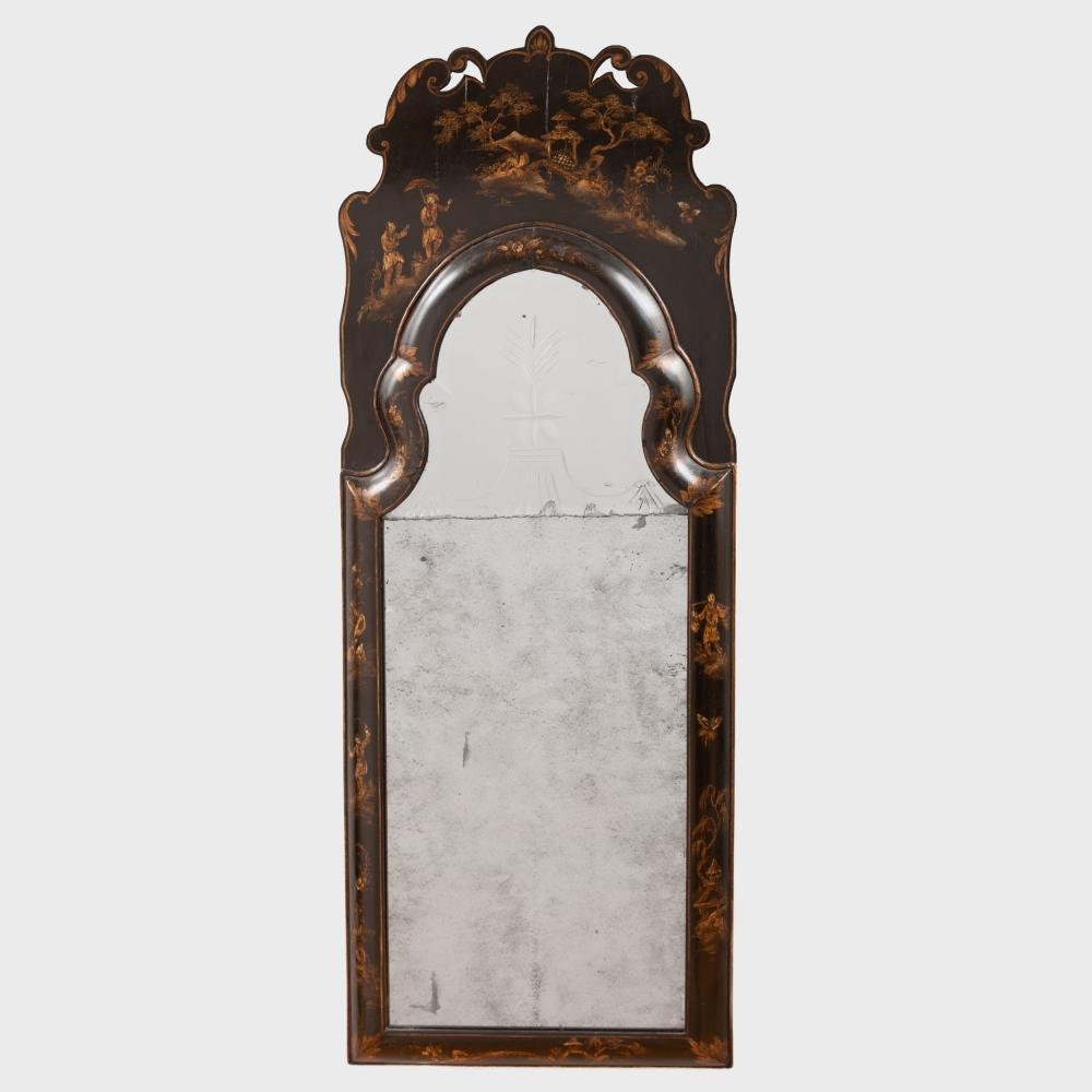 Queen Anne Black Japanned and Parcel-Gilt Mirror