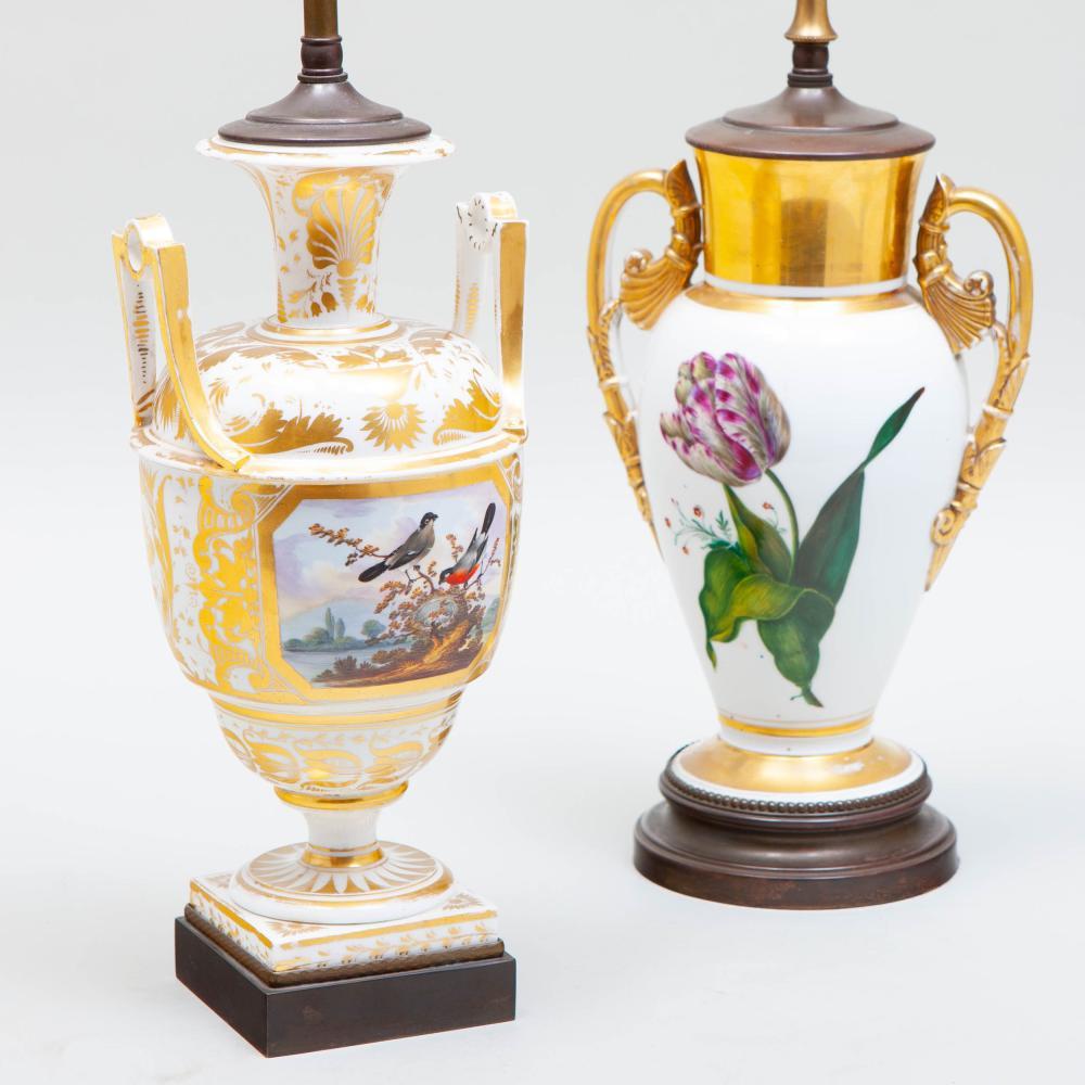 Two Paris Porcelain Vases Mounted as Lamps