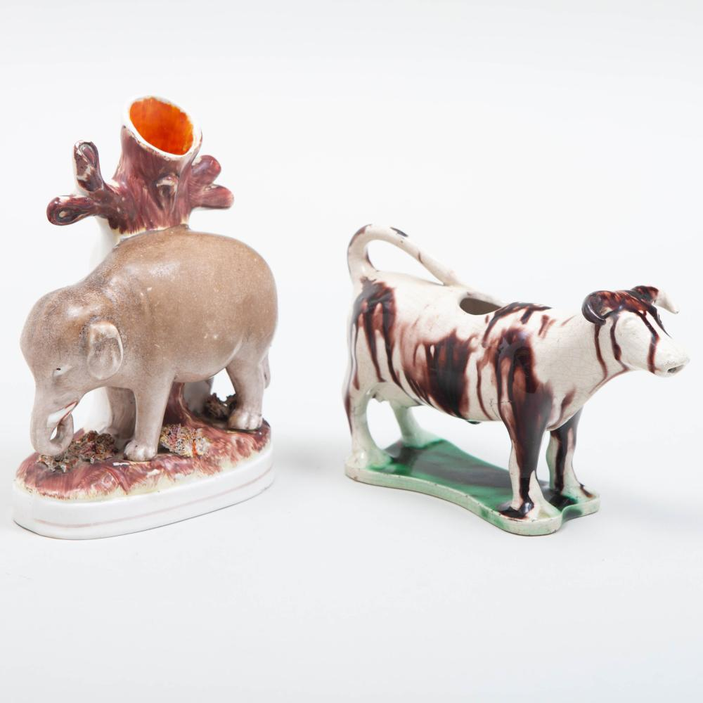 Staffordshire Pottery Elephant Spill Vase and an English Creamware Cow Creamer