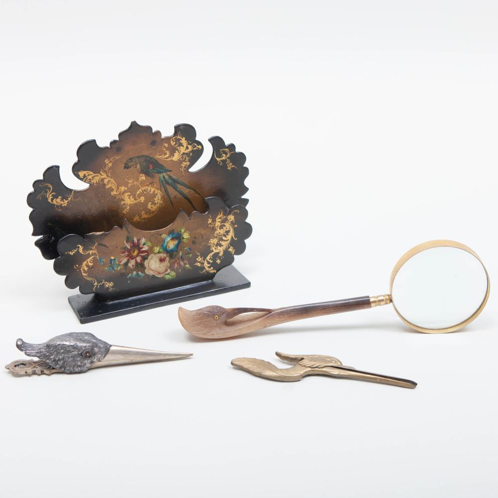 Group of Victorian Style Desk Articles Decorated with Birds