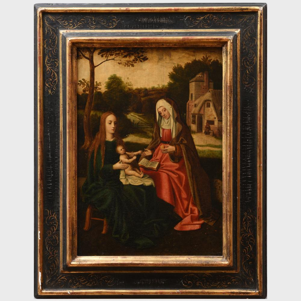 European School: Madonna and Child with Saint Anne in a Landscape