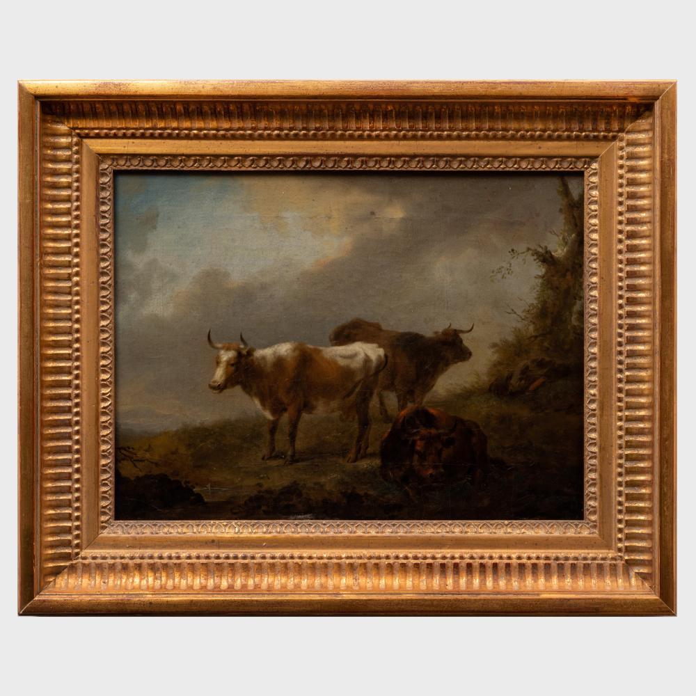 Follower of Aelbert Cuyp (1620-1691): Cattle with a Sleeping Herdsman