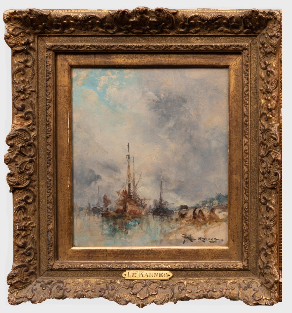 Jean-Etienne Karnec (1865-1934): Harbor Scene
