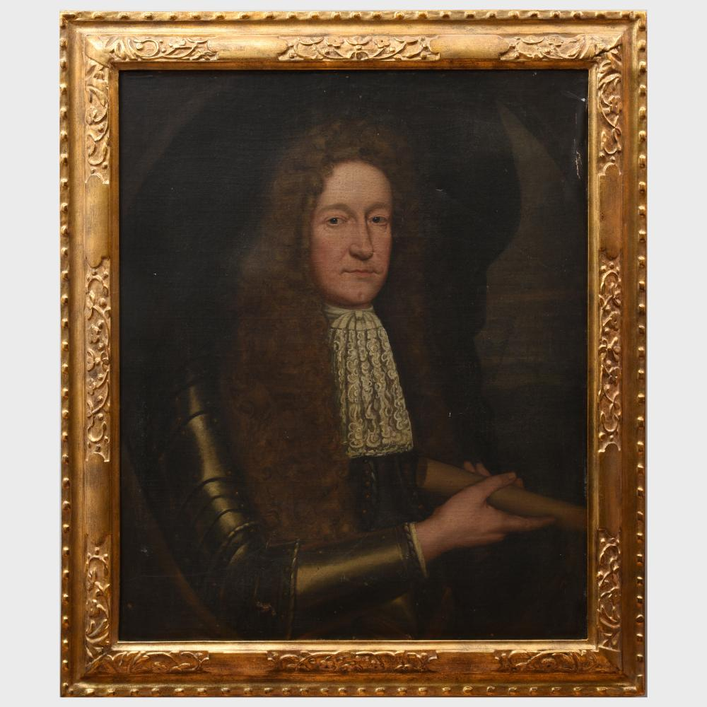 European School: Half Length Portrait of a Man in a Red Coat