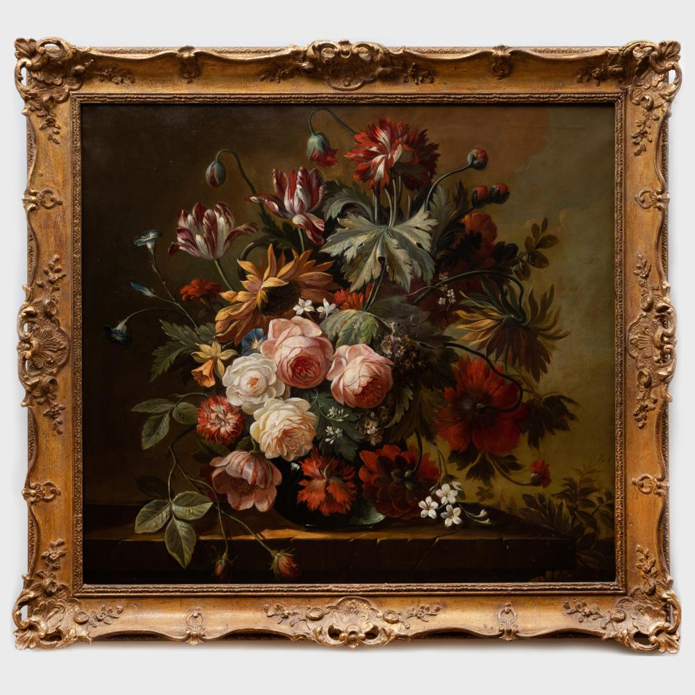 Continental School: Still Life with Roses and French Tulips