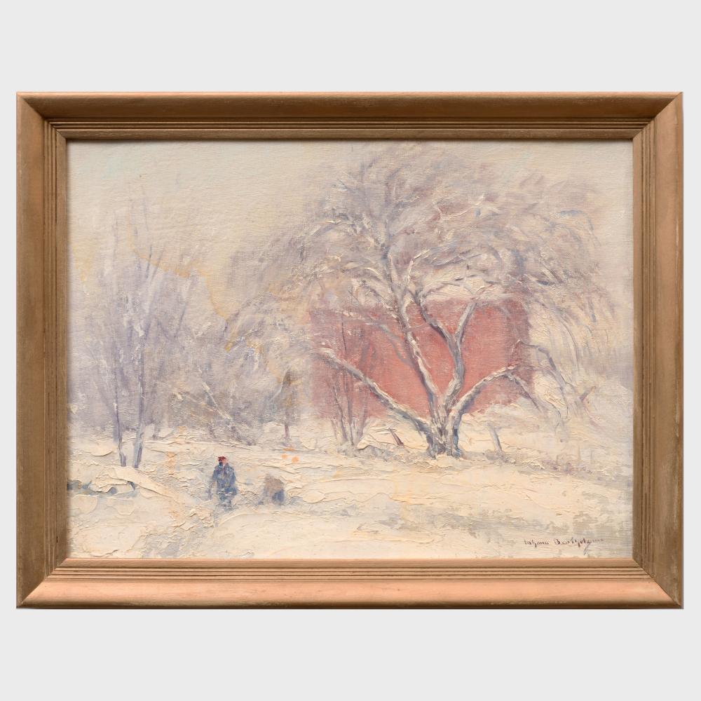 Johann Berthelsen (1883-1972): Snow Scene in Connecticut
