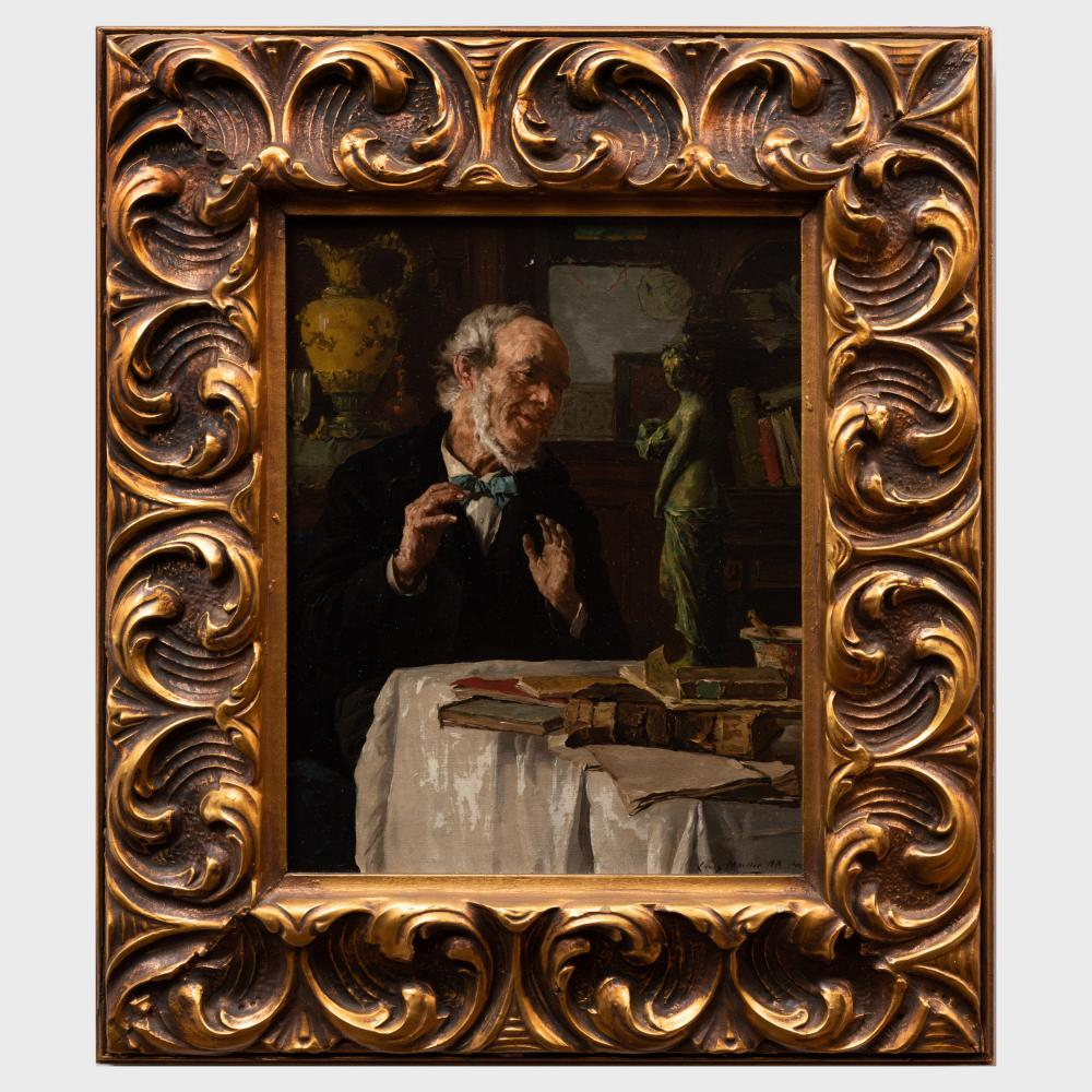 Louis Moeller (1855-1930): Contemplating a Sculpture
