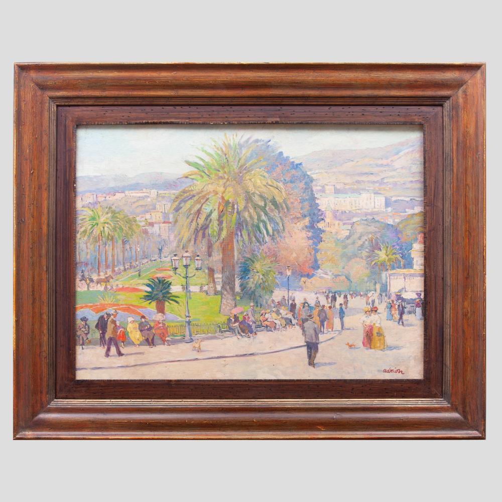 Lucien Adrion (1889-1953): Vu d'un jardin à Menton