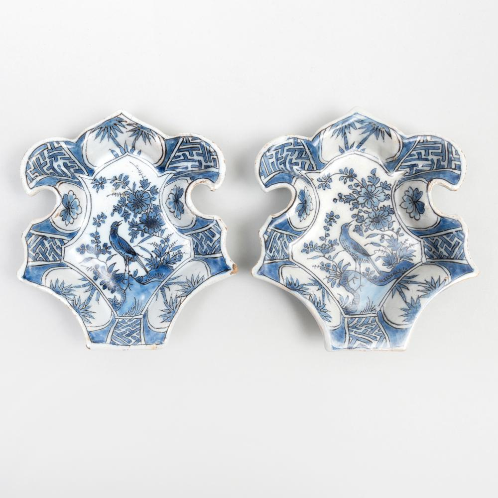 Pair of Dutch Delft Blue and White Pickle Dishes