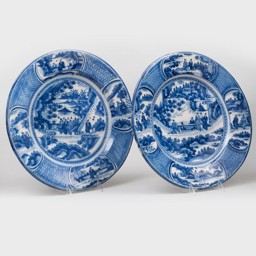 Pair of Dutch Delft Blue and White Large Chargers